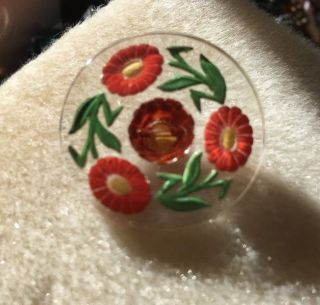 Vintage Antique Button: Czech Glass W/reverse Painted Flowers:red Gerber Daisies photo