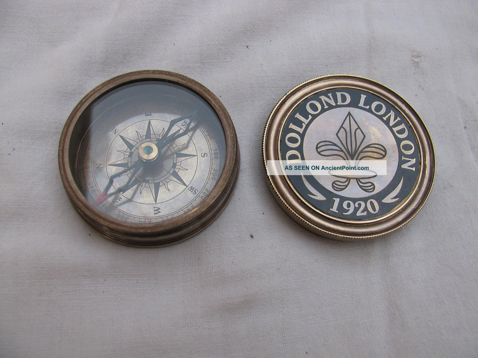 Rare Vintage Marine Antique Brass Compass Old Style Directional Nautical Compass Compasses photo