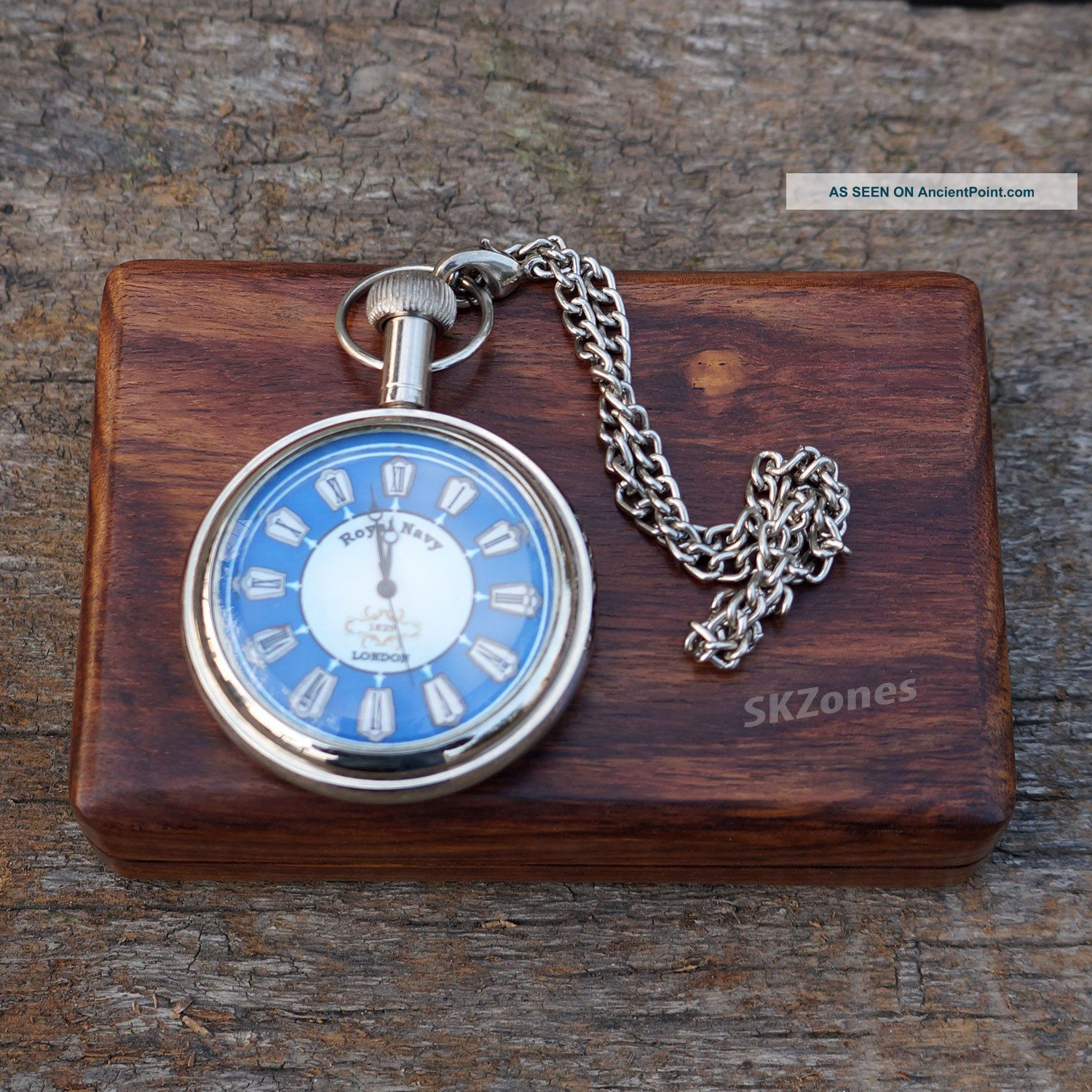 Watch Pocket Brass Antique Vintage Chain Royal Navy With Solid Wood Box Gift Clocks photo