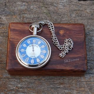 Watch Pocket Brass Antique Vintage Chain Royal Navy With Solid Wood Box Gift photo