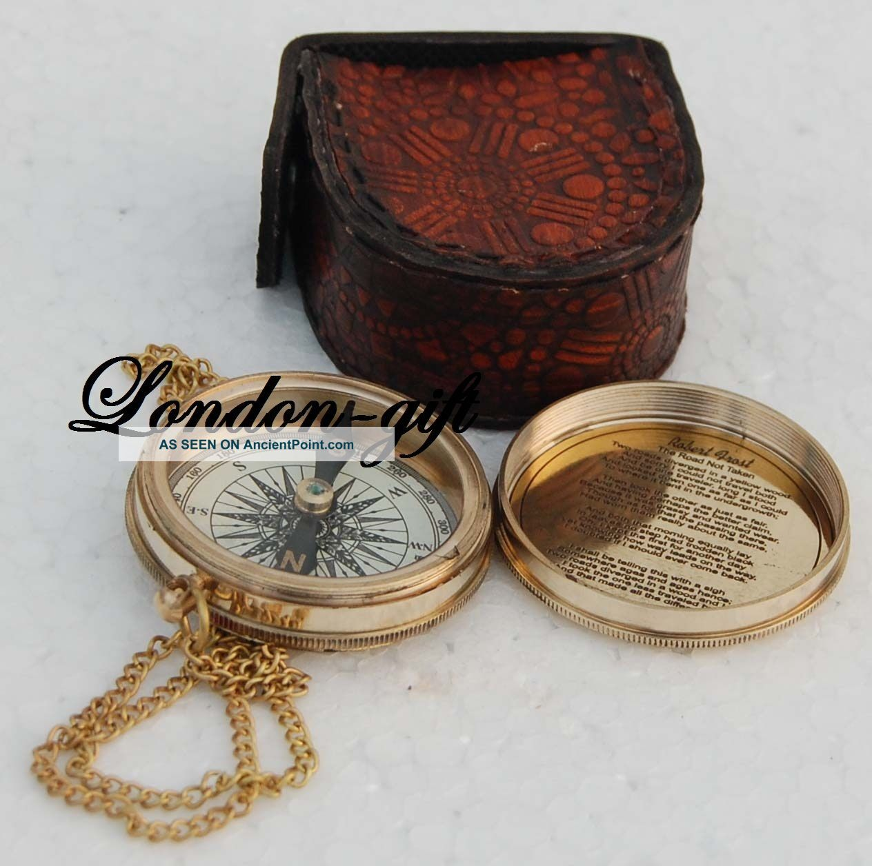 Vintage Compass Poem Compass Engraved Compass Marine Compass W/leather Case Compasses photo