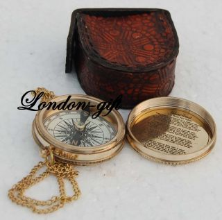 Vintage Compass Poem Compass Engraved Compass Marine Compass W/leather Case photo