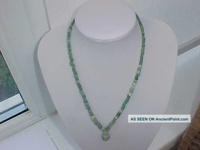 String Of Roman Green Coloured Glass Beads Circa 100 - 400 A.  D. Roman photo