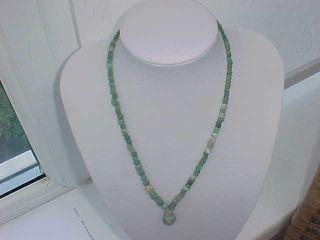 String Of Roman Green Coloured Glass Beads Circa 100 - 400 A.  D. photo