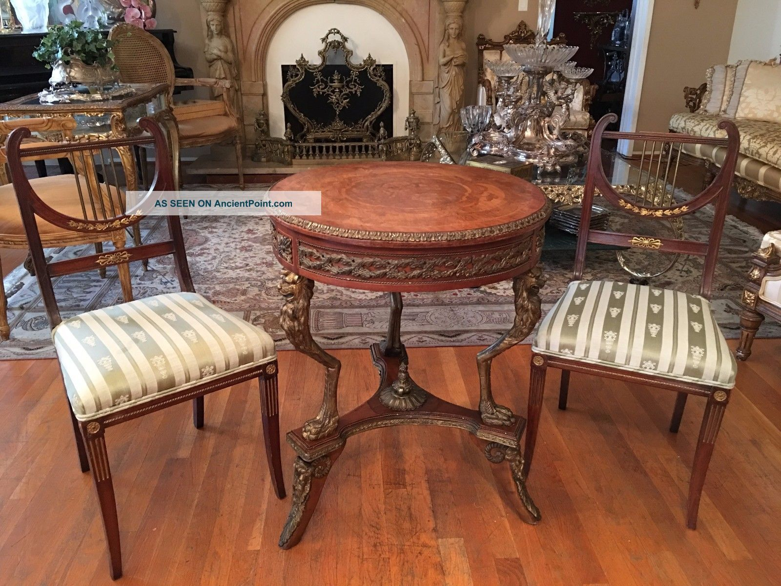 French Style Round Lamp Table Bronze And Ormolu Mounted Inlaid Stand Post-1950 photo