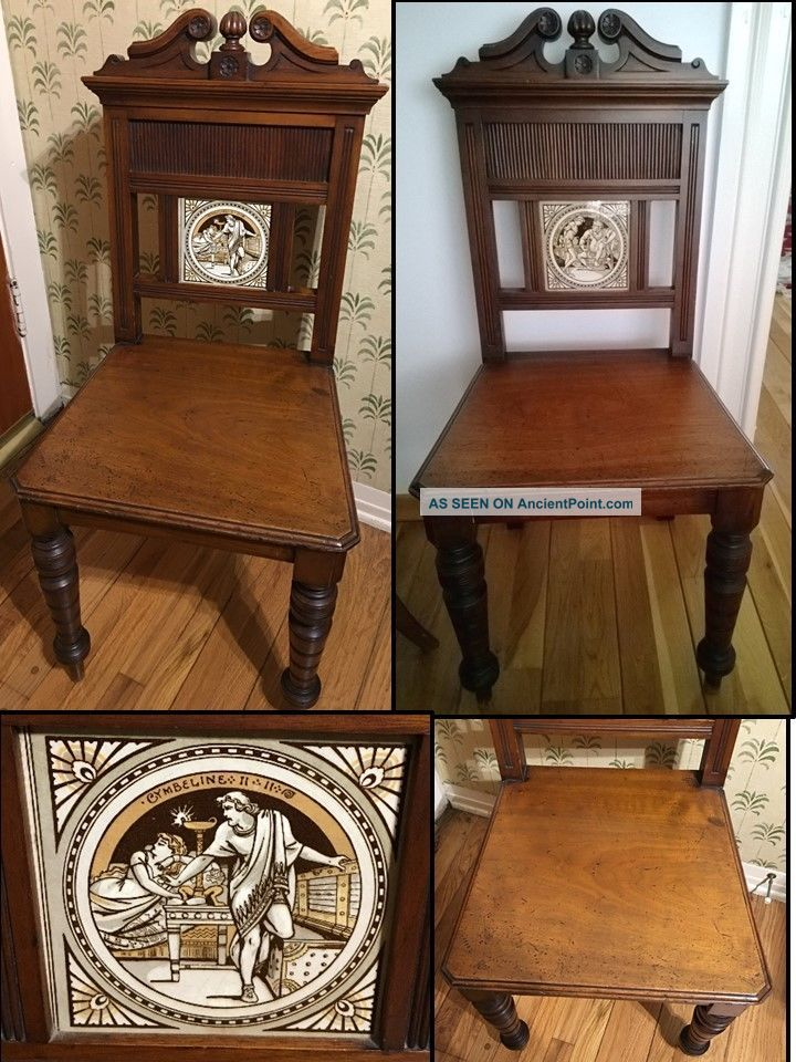 Antique John Moyr Smith Shakespeare Design Minton Tiled Hall Chairs C.  1880 1800-1899 photo