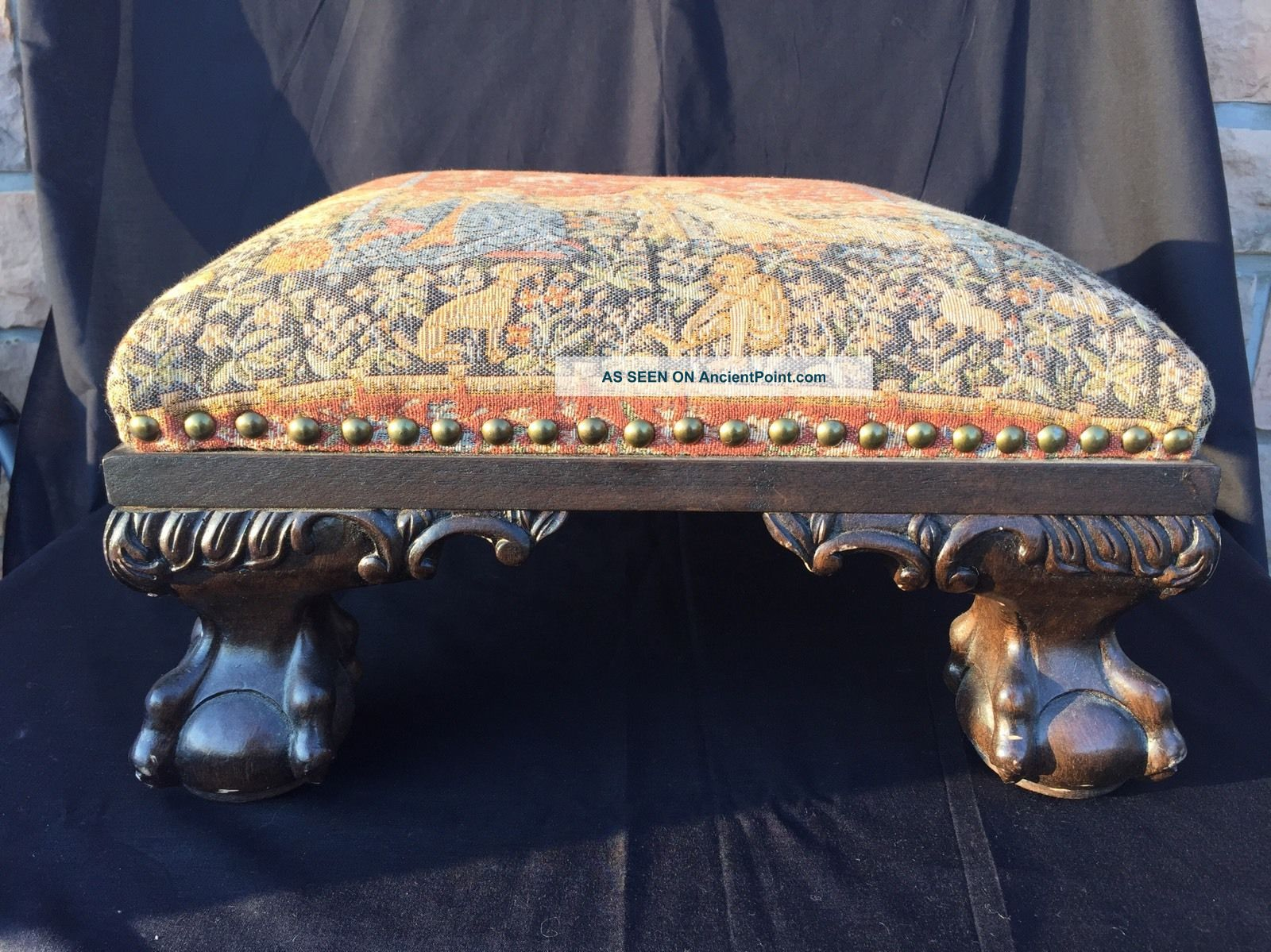 Tapestry Foot Stool Ottoman Wooden Ball & Claw Feet And Legs - Brass Tacks 1900-1950 photo
