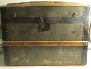 Antique 1800 ' S Doll Or Child ' S Metal & Wood Dome Top Chest Or Trunk photo