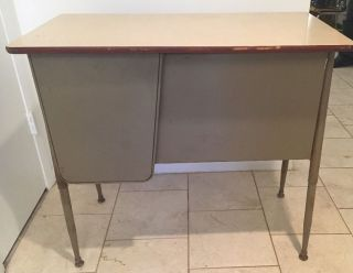 Teacher ' S School Desk Industrial Vintage Metal - Mid Century - Atomic - Retro photo