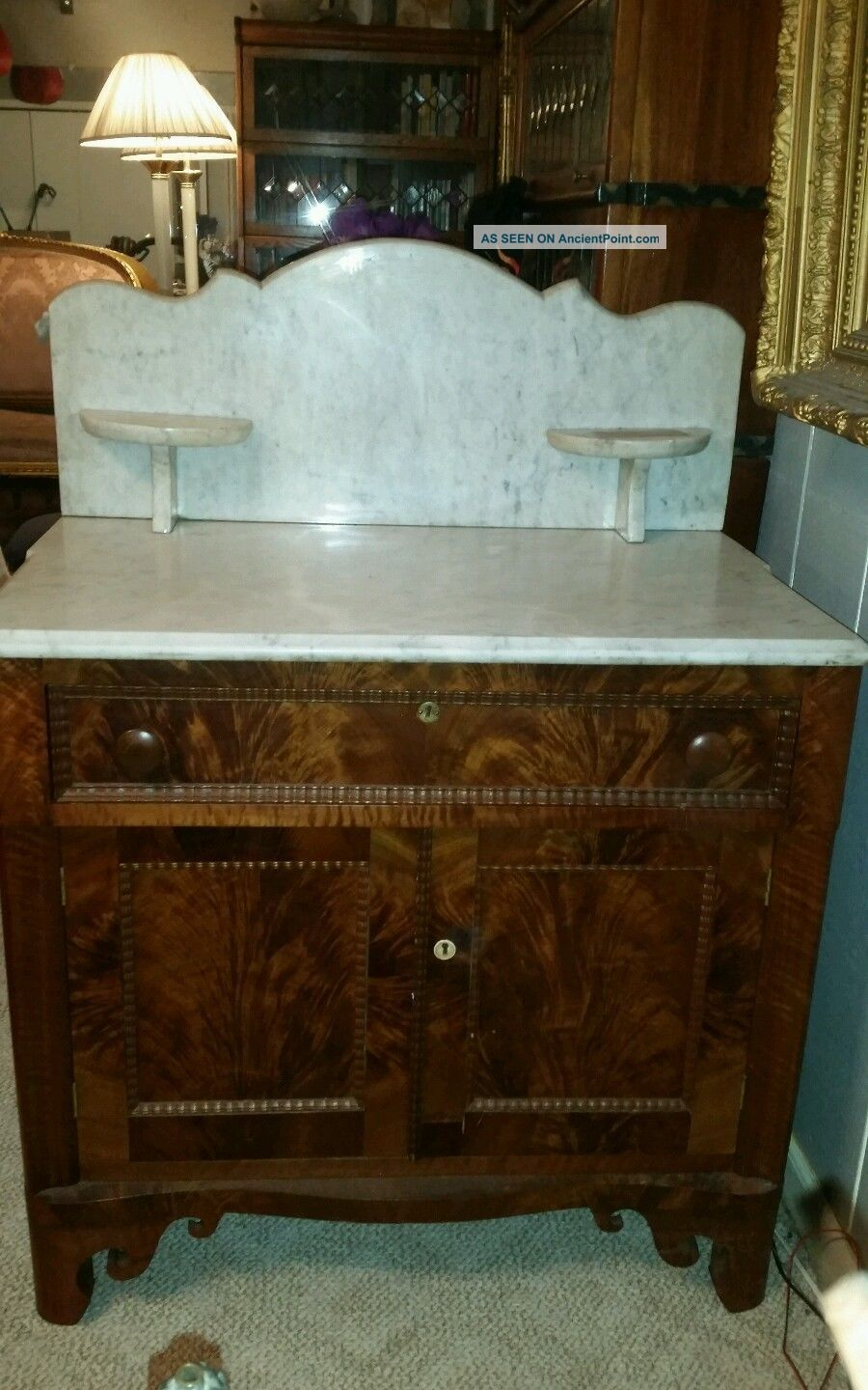 Antique Victorian Marble Top Wash Stand With Fabulous Wood Base Stunning 1800-1899 photo