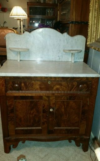 Antique Victorian Marble Top Wash Stand With Fabulous Wood Base Stunning photo