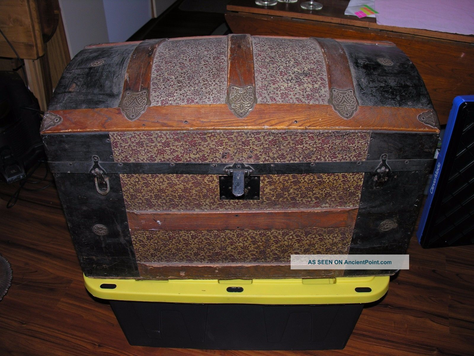 Antique 1800s Dome Top Embossed Tin Steamer Trunk Chest Ornate Victorian 1900-1950 photo