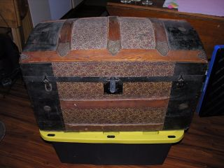 Antique 1800s Dome Top Embossed Tin Steamer Trunk Chest Ornate Victorian photo