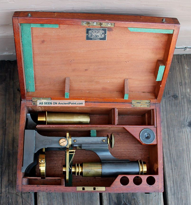 Antique Vintage James Parkes & Son Brass Field Microscope & Wooden Box Microscopes & Lab Equipment photo