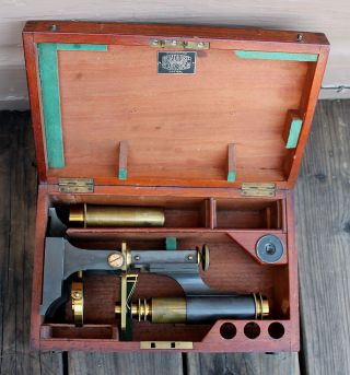 Antique Vintage James Parkes & Son Brass Field Microscope & Wooden Box photo