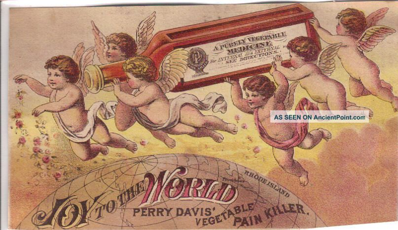 Angels W Bottle Of Davis ' Pain Killer Quack Medicine Adv Trade Card C1880s Quack Medicine photo