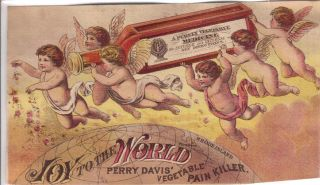 Angels W Bottle Of Davis ' Pain Killer Quack Medicine Adv Trade Card C1880s photo
