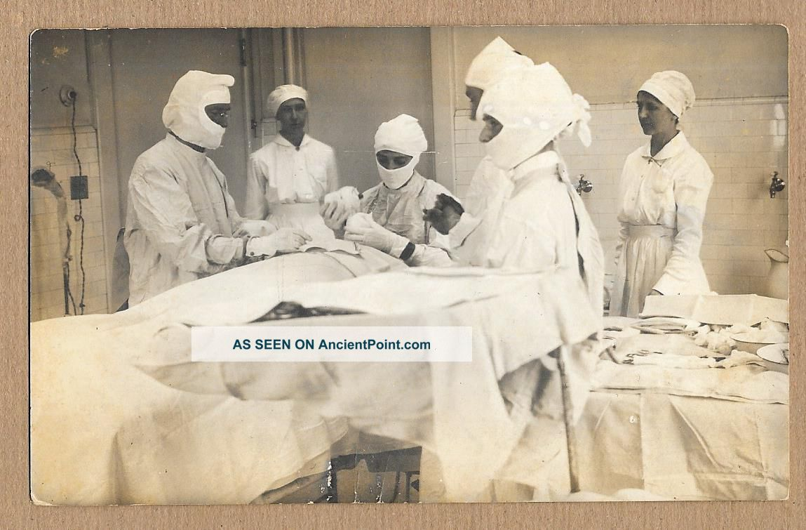 Operating Room Table Surgery Doctors Nurses Patient Instruments 1904 - 1918 Rppc N Surgical Tools photo