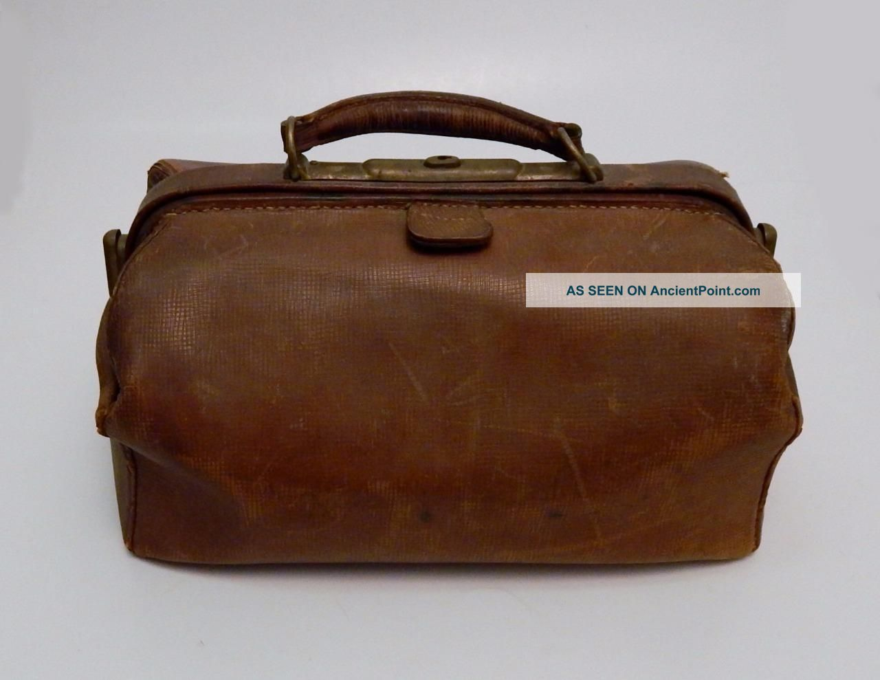 Antique Brown Leather Doctors Medical Bag Satchel With Brass Hardware Doctor Bags photo