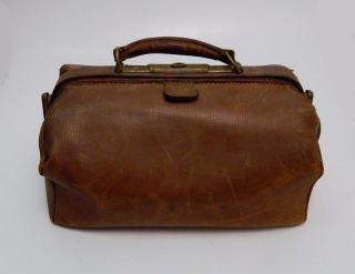 Antique Brown Leather Doctors Medical Bag Satchel With Brass Hardware photo