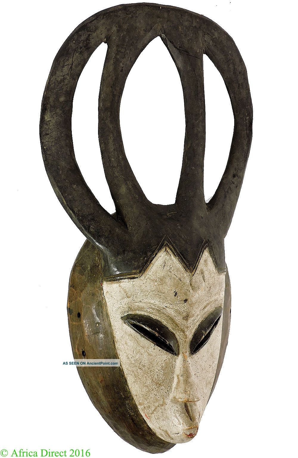 Yaure Mask White Face Tall Crest Ivory Coast African Art Masks photo