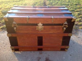 Trunks - N - Treasures Refinished Antique Flat Top Trunk photo
