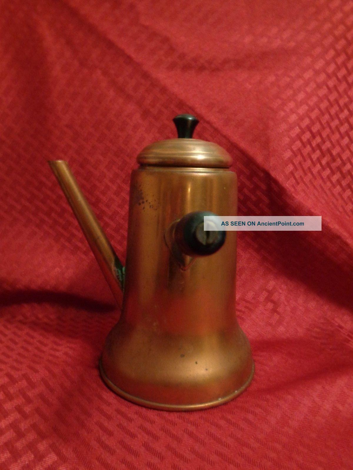 Vintage Patina Copper Kitchen Handle Stove Top Chocolate Pot W Spout Mid-Century Modernism photo