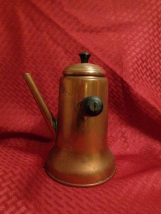 Vintage Patina Copper Kitchen Handle Stove Top Chocolate Pot W Spout photo