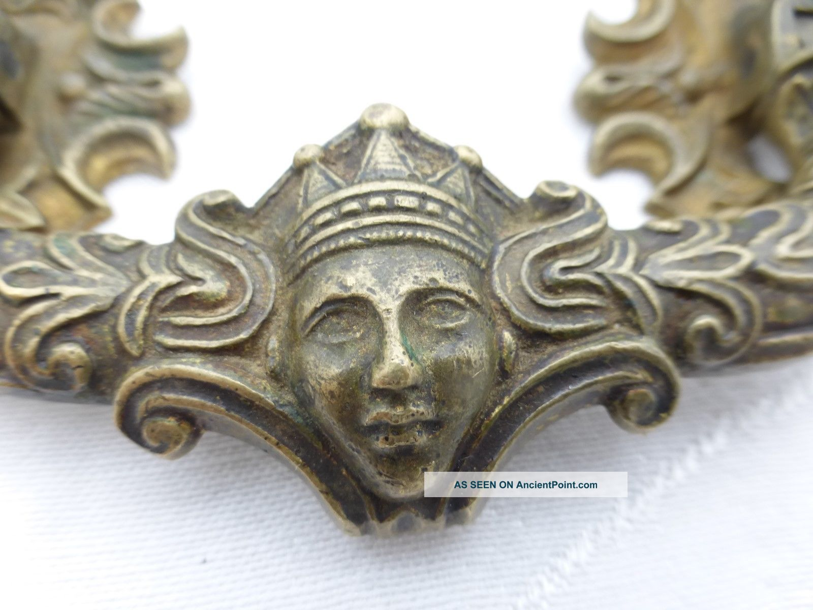 Detail Antique Victorian Ornate Drawer Pull Ladies Face With Crown Drawer Pulls photo