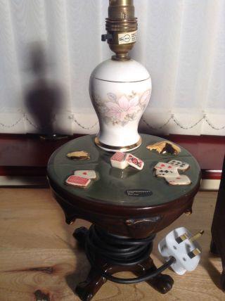 Vintage Cooper Craft Porcelain Novelty Table Bedside Lamp 1970 ' S - Card Game Table photo