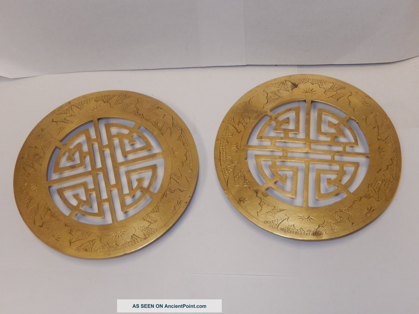 2 Antique Japanese Footed Brass Trivet Kanji Character Symbol Marked A&c Japan Trivets photo