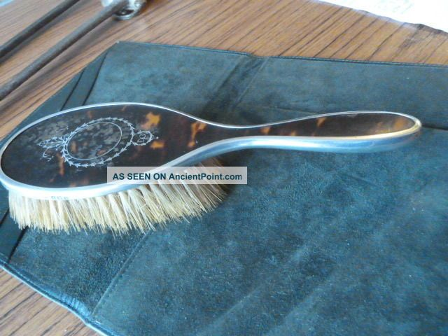 Antique Silver Mounted Hair Brush With Applique Silver Decoration. Brushes & Grooming Sets photo