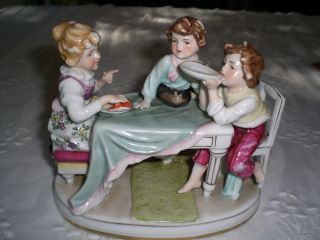 German Figurine Of 3 Children At Table,  Victorian Tea Time / Antique photo