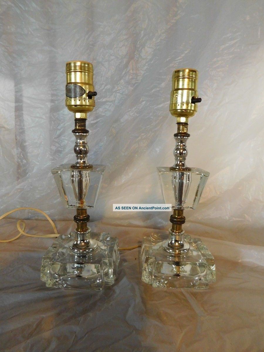 Pr Art Deco French Victorian Bedroom Nightstand Lamps Table Vanity Dresser Light Lamps photo