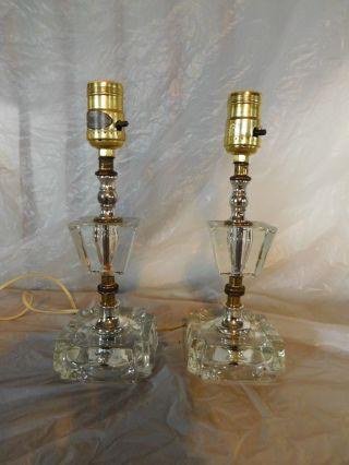 Pr Art Deco French Victorian Bedroom Nightstand Lamps Table Vanity Dresser Light photo