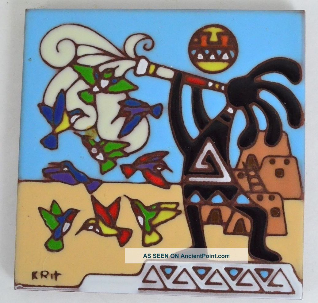 Earthtones Kokopelli Painted Tile Tucson Arizona 1995 Signed Krit Desert Scene Tiles photo