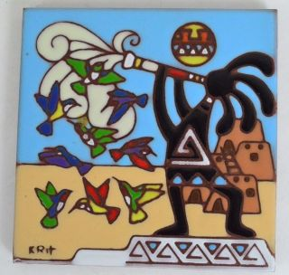 Earthtones Kokopelli Painted Tile Tucson Arizona 1995 Signed Krit Desert Scene photo
