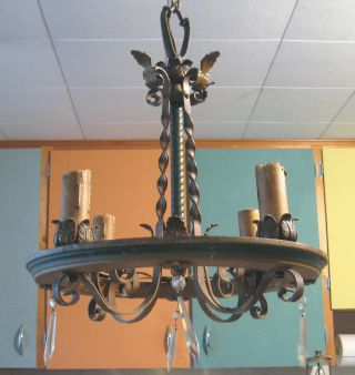 1920 ' S - 30 ' S Antique Art Deco 4 - Blub Painted Solid Brass Chandelier photo