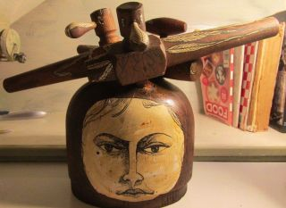 Folk Art Made From Wood Hat Block & Wood Keg Taps Signed A.  Shapiro