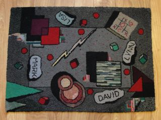 Vintage Mid - Century Unique Abstract Modernism Hand Hooked Rug,  Nr photo