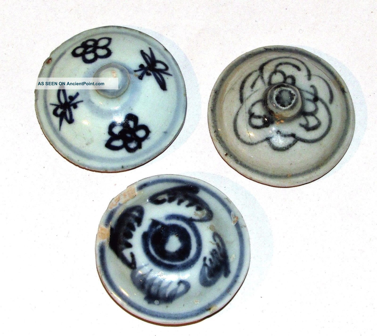 Antique Chinese Ming Blue & White Pottery Lids Underglaze Blue Porcelain 3 Small Far Eastern photo