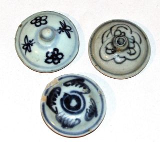 Antique Chinese Ming Blue & White Pottery Lids Underglaze Blue Porcelain 3 Small photo