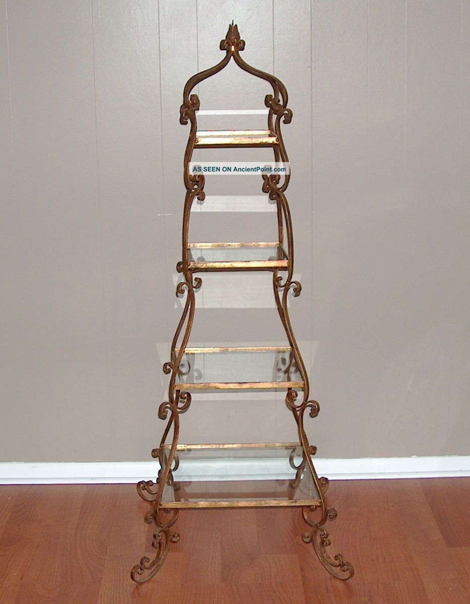 P7857: Italian Gold Tole 5 Tier Stand Etagere Display Shelf Hollywood Regency Toleware photo