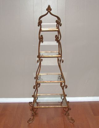 P7857: Italian Gold Tole 5 Tier Stand Etagere Display Shelf Hollywood Regency photo