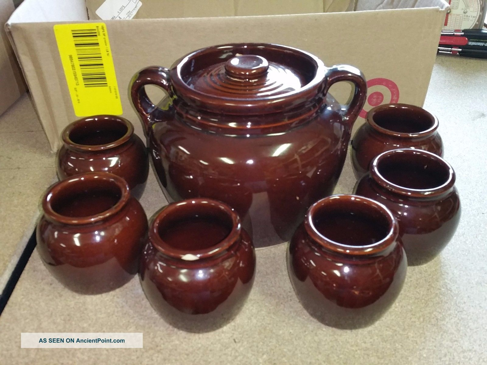 Brown Glaze Crock Bean Pot W/ Lid - Double Handles - Usa W/ 6 Individual Crocks Crocks photo