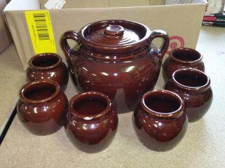 Brown Glaze Crock Bean Pot W/ Lid - Double Handles - Usa W/ 6 Individual Crocks photo