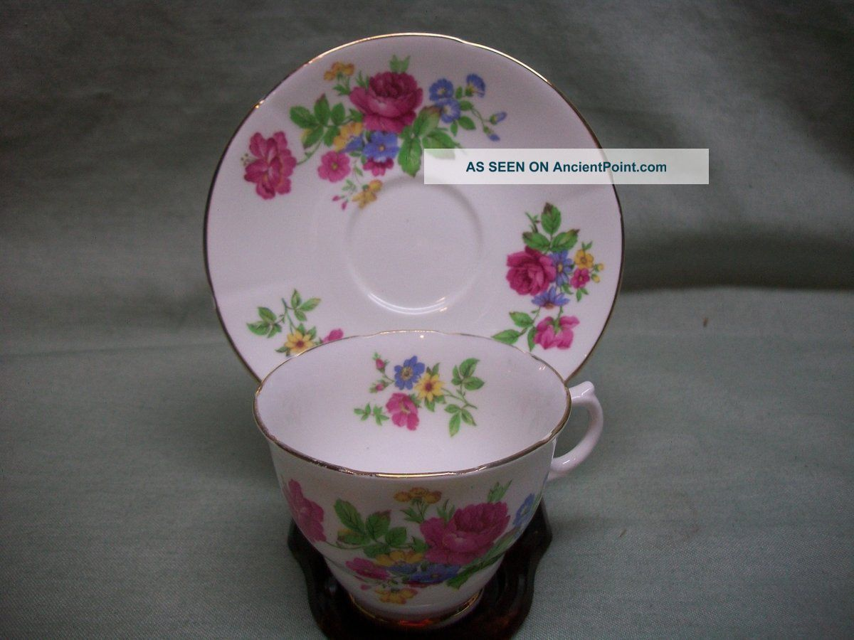 Vintage Crownford England Bone China Rose Teacup & Saucer Cups & Saucers photo
