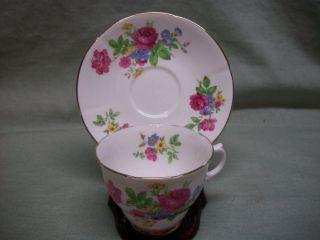 Vintage Crownford England Bone China Rose Teacup & Saucer photo