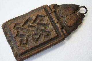 Antique Wooden Yak Animal Amulet Tibet photo