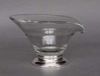 Vintage Mid - Century Modern Art Glass Condiment Bowl With Web Sterling Base photo